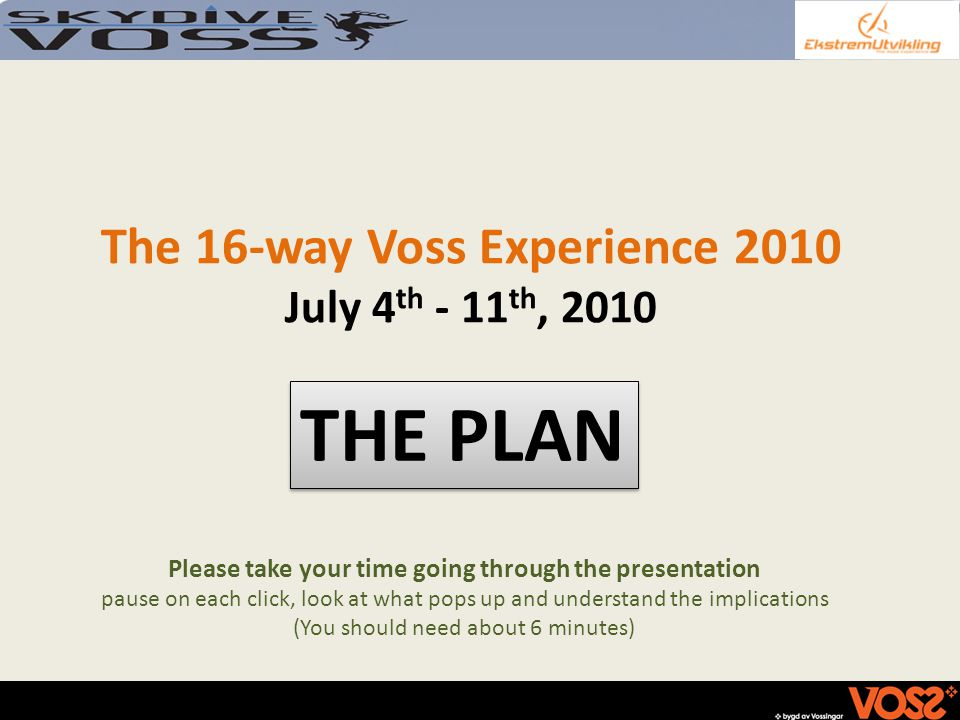 The 16-way Voss Experience 2010 July 4 th - 11 th, 2010 THE PLAN Please take your time going through the presentation pause on each click, look at what pops up and understand the implications (You should need about 6 minutes)