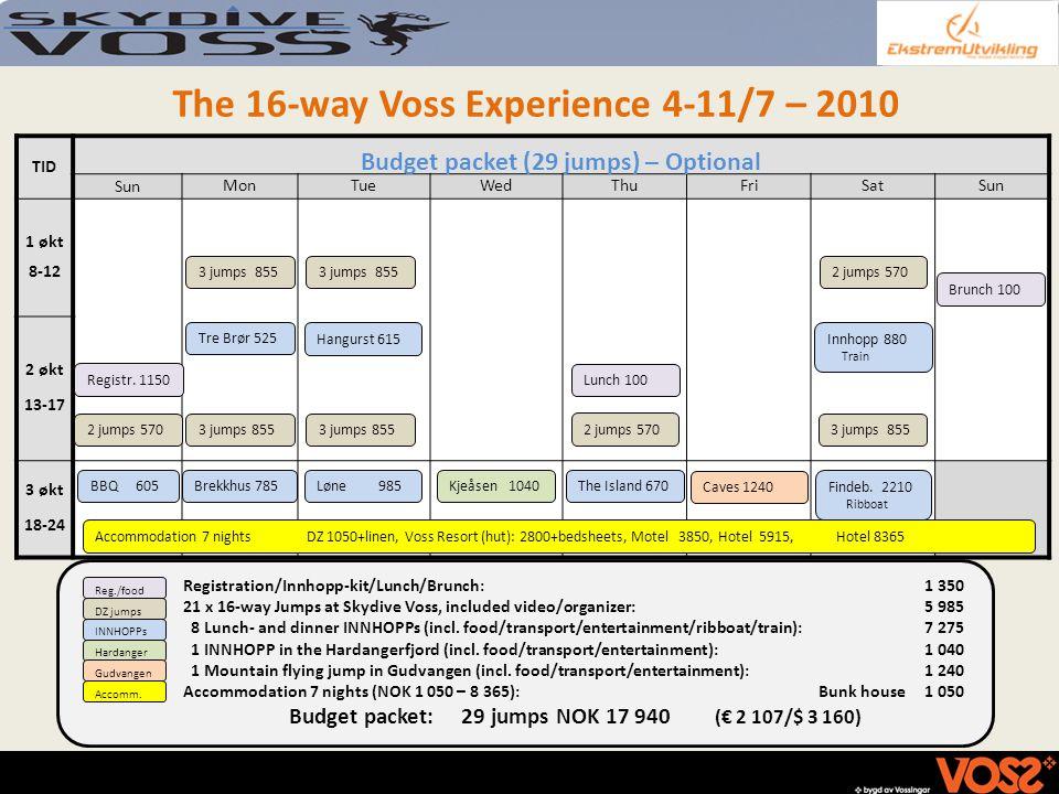 The 16-way Voss Experience 4-11/7 – 2010 TID Budget packet (29 jumps) – Optional Sun MonTueWedThuFriSatSun 1 økt 8-12 2 økt 13-17 3 økt 18-24 Registra