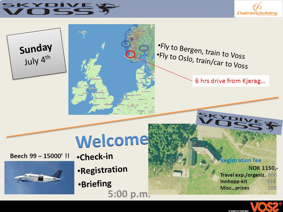 Sunday July 4 th Check-in Registration Briefing Fly to Bergen, train to Voss Fly to Oslo, train/car to Voss 5:00 p.m.