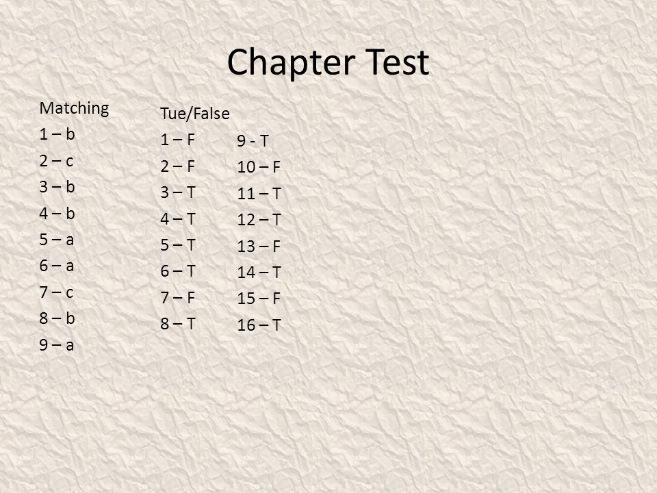Chapter Test Matching 1 – b 2 – c 3 – b 4 – b 5 – a 6 – a 7 – c 8 – b 9 – a Tue/False 1 – F 2 – F 3 – T 4 – T 5 – T 6 – T 7 – F 8 – T 9 - T 10 – F 11 – T 12 – T 13 – F 14 – T 15 – F 16 – T