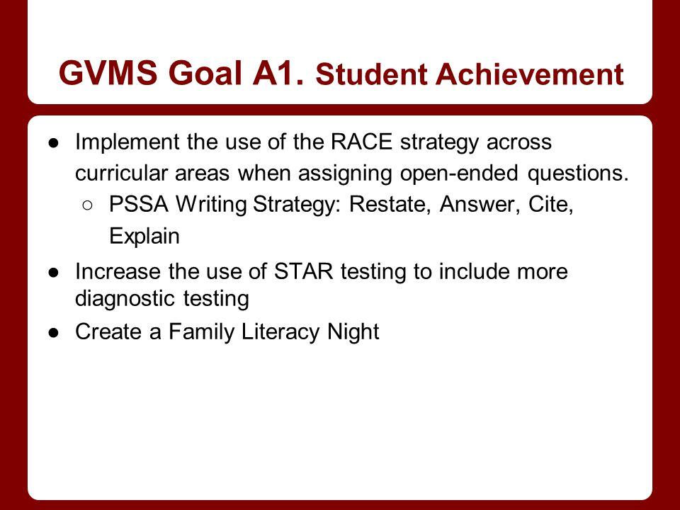 GVMS Goal A1. Student Achievement Implement the use of the RACE strategy across curricular areas when assigning open-ended questions. PSSA Writing Str