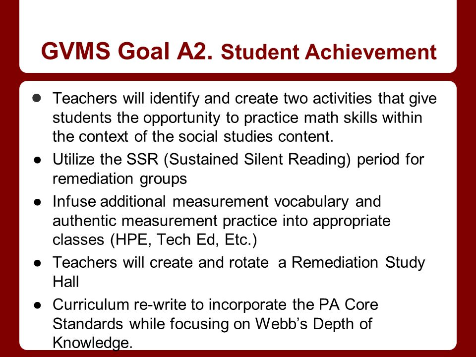 GVMS Goal A2. Student Achievement Teachers will identify and create two activities that give students the opportunity to practice math skills within t