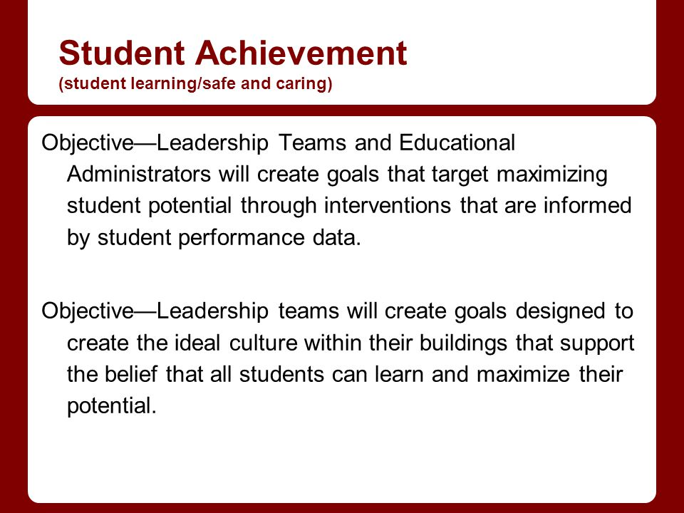 Student Achievement (student learning/safe and caring) ObjectiveLeadership Teams and Educational Administrators will create goals that target maximizing student potential through interventions that are informed by student performance data.