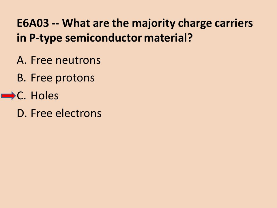 E6A03 -- What are the majority charge carriers in P-type semiconductor material? A.Free neutrons B.Free protons C.Holes D.Free electrons