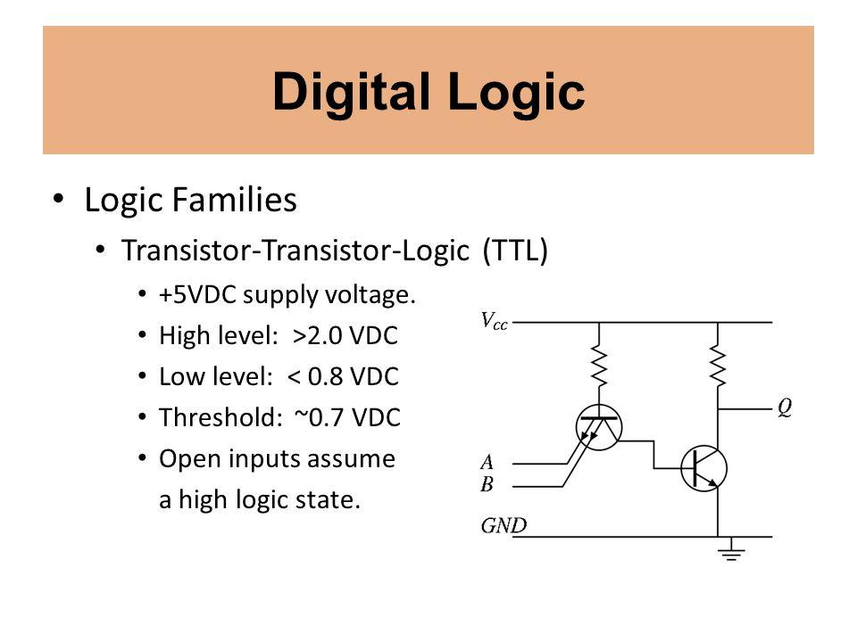 Digital Logic Logic Families Transistor-Transistor-Logic (TTL) +5VDC supply voltage. High level: >2.0 VDC Low level: < 0.8 VDC Threshold: ~0.7 VDC Ope