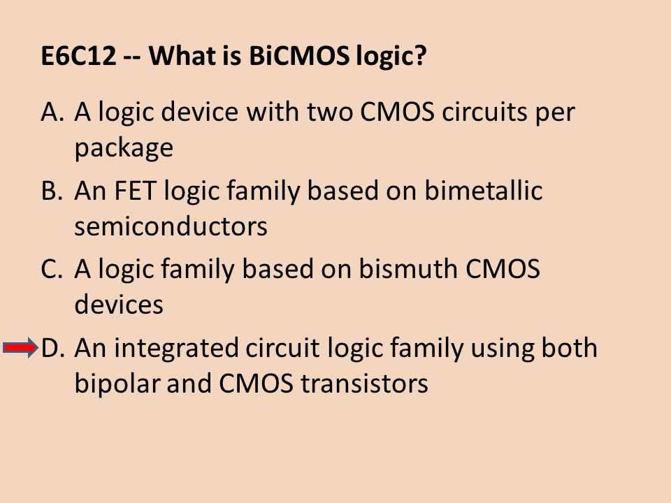 E6C12 -- What is BiCMOS logic? A.A logic device with two CMOS circuits per package B.An FET logic family based on bimetallic semiconductors C.A logic