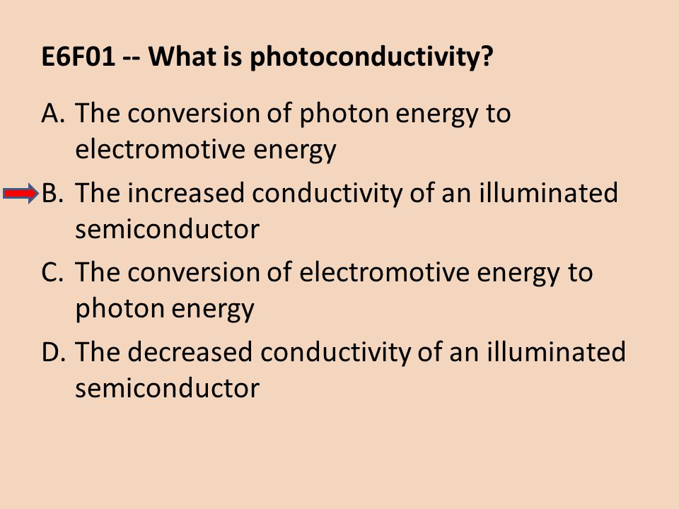 E6F01 -- What is photoconductivity? A.The conversion of photon energy to electromotive energy B.The increased conductivity of an illuminated semicondu