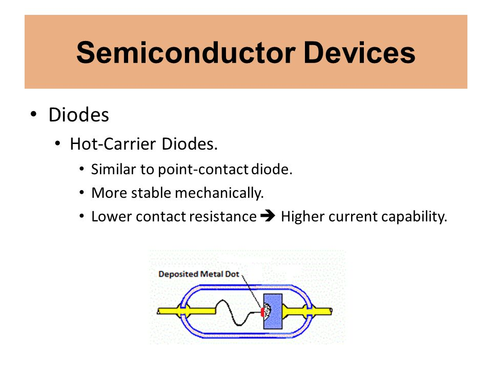 Semiconductor Devices Diodes Hot-Carrier Diodes. Similar to point-contact diode. More stable mechanically. Lower contact resistance Higher current cap