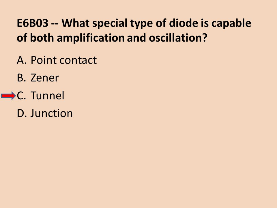 E6B03 -- What special type of diode is capable of both amplification and oscillation? A.Point contact B.Zener C.Tunnel D.Junction