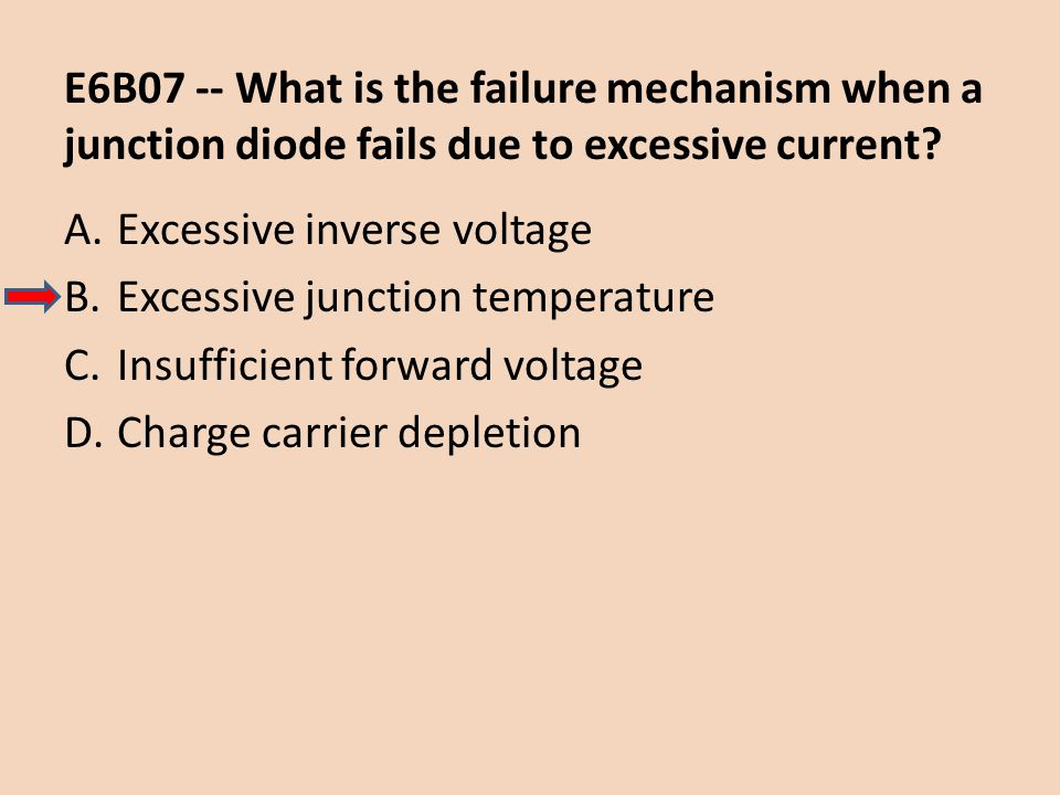 E6B07 -- What is the failure mechanism when a junction diode fails due to excessive current? A.Excessive inverse voltage B.Excessive junction temperat