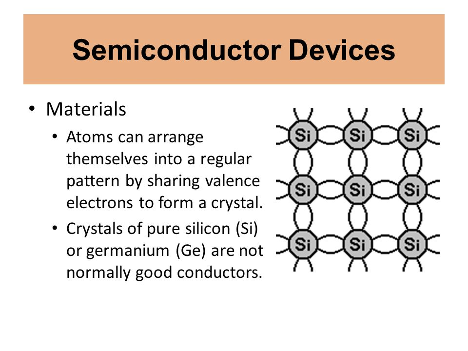 Semiconductor Devices Materials Atoms can arrange themselves into a regular pattern by sharing valence electrons to form a crystal. Crystals of pure s