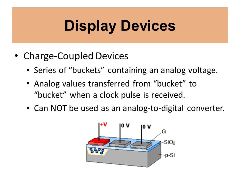 Display Devices Charge-Coupled Devices Series of buckets containing an analog voltage. Analog values transferred from bucket to bucket when a clock pu