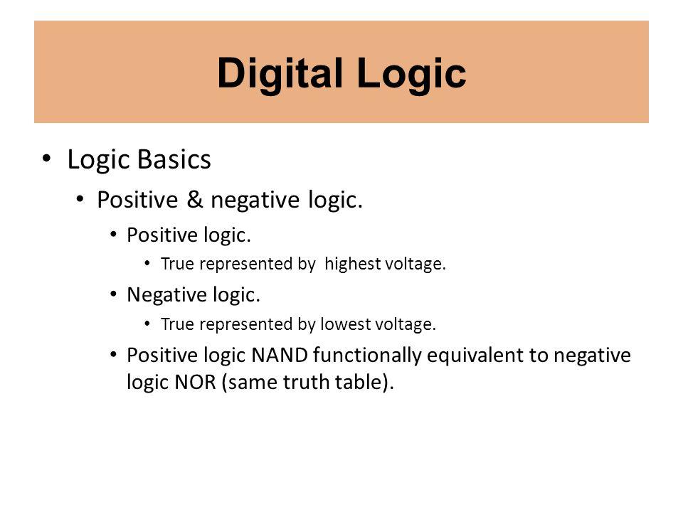 Digital Logic Logic Basics Positive & negative logic. Positive logic. True represented by highest voltage. Negative logic. True represented by lowest