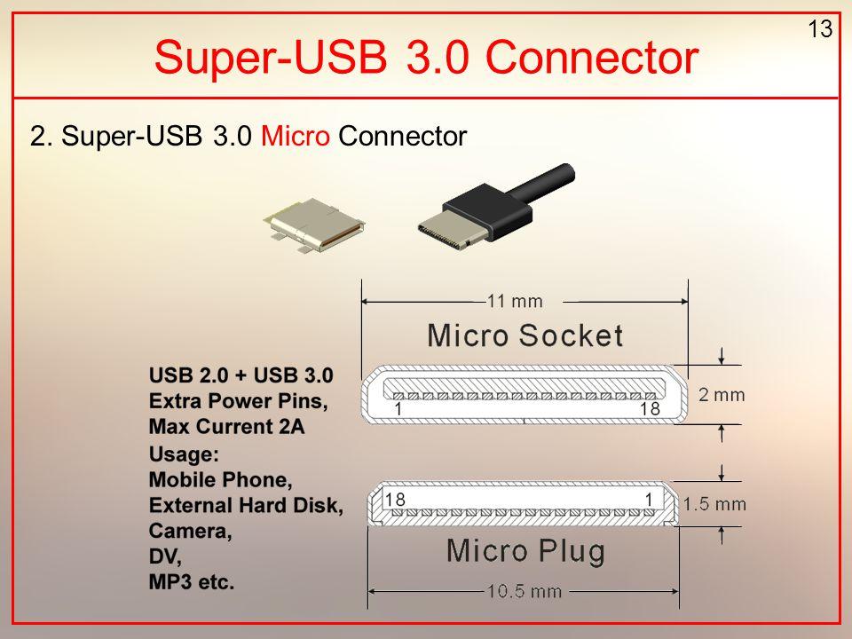 13 Super-USB 3.0 Connector 2. Super-USB 3.0 Micro Connector