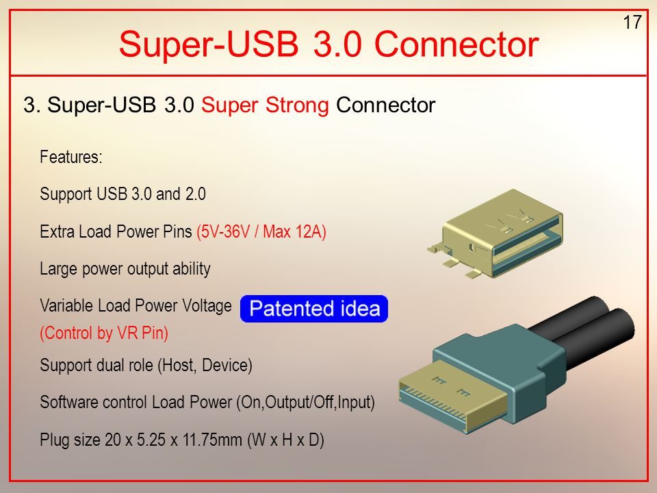 17 Super-USB 3.0 Connector 3. Super-USB 3.0 Super Strong Connector Features: Support USB 3.0 and 2.0 Extra Load Power Pins (5V-36V / Max 12A) Large po