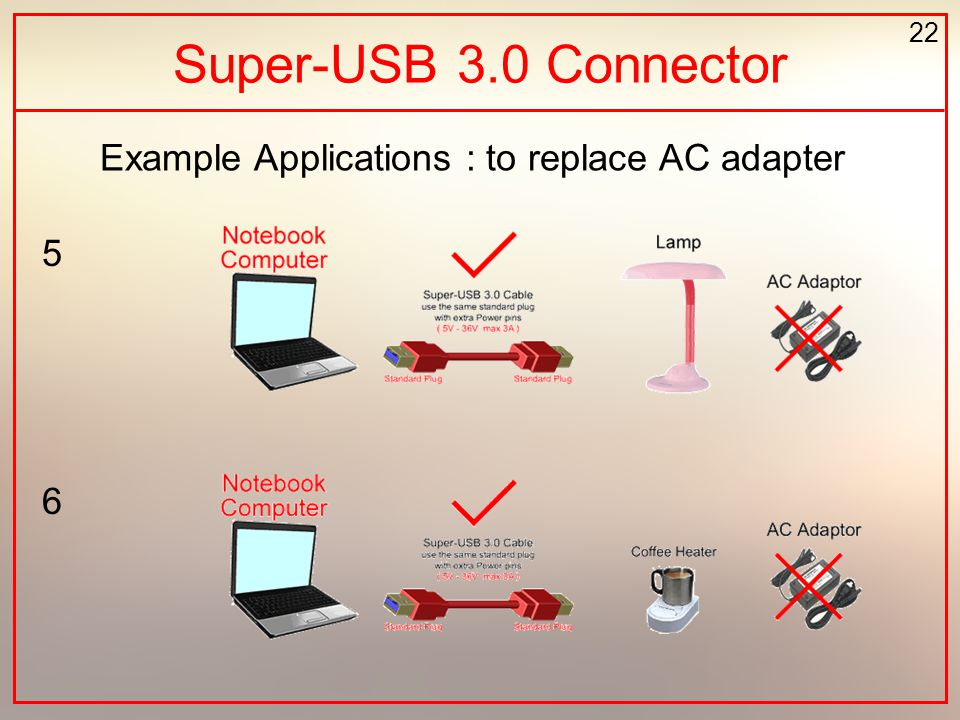 22 Example Applications : to replace AC adapter Super-USB 3.0 Connector 5 6