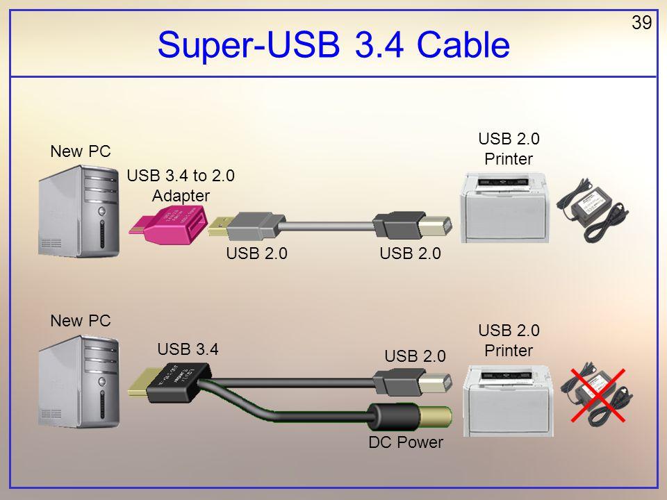 39 Super-USB 3.4 Cable New PC USB 2.0 Printer USB 3.4 to 2.0 Adapter USB 2.0 DC Power USB 2.0 USB 3.4 USB 2.0
