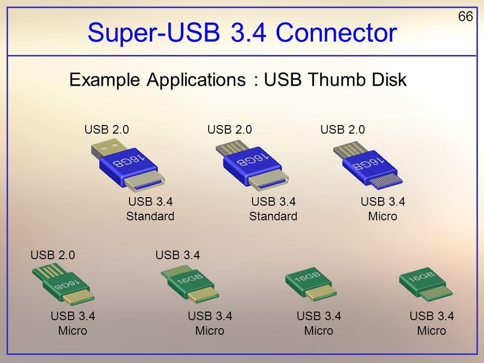 66 Super-USB 3.4 Connector Example Applications : USB Thumb Disk USB 2.0 USB 3.4 USB 3.4 Standard USB 3.4 Standard USB 3.4 Micro USB 3.4 Micro USB 3.4