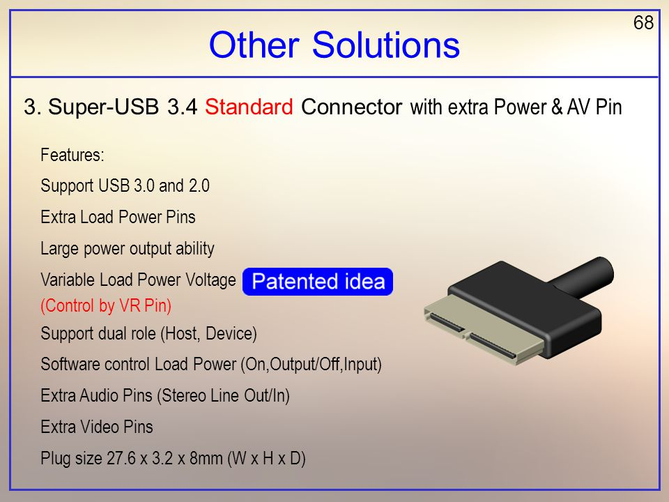 68 Other Solutions Features: Support USB 3.0 and 2.0 Extra Load Power Pins Large power output ability Variable Load Power Voltage (Control by VR Pin) Support dual role (Host, Device) Software control Load Power (On,Output/Off,Input) Extra Audio Pins (Stereo Line Out/In) Extra Video Pins Plug size 27.6 x 3.2 x 8mm (W x H x D) 3.