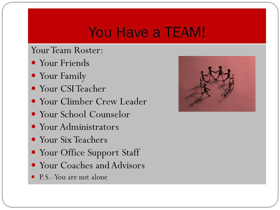 You Have a TEAM! Your Team Roster: Your Friends Your Family Your CSI Teacher Your Climber Crew Leader Your School Counselor Your Administrators Your S