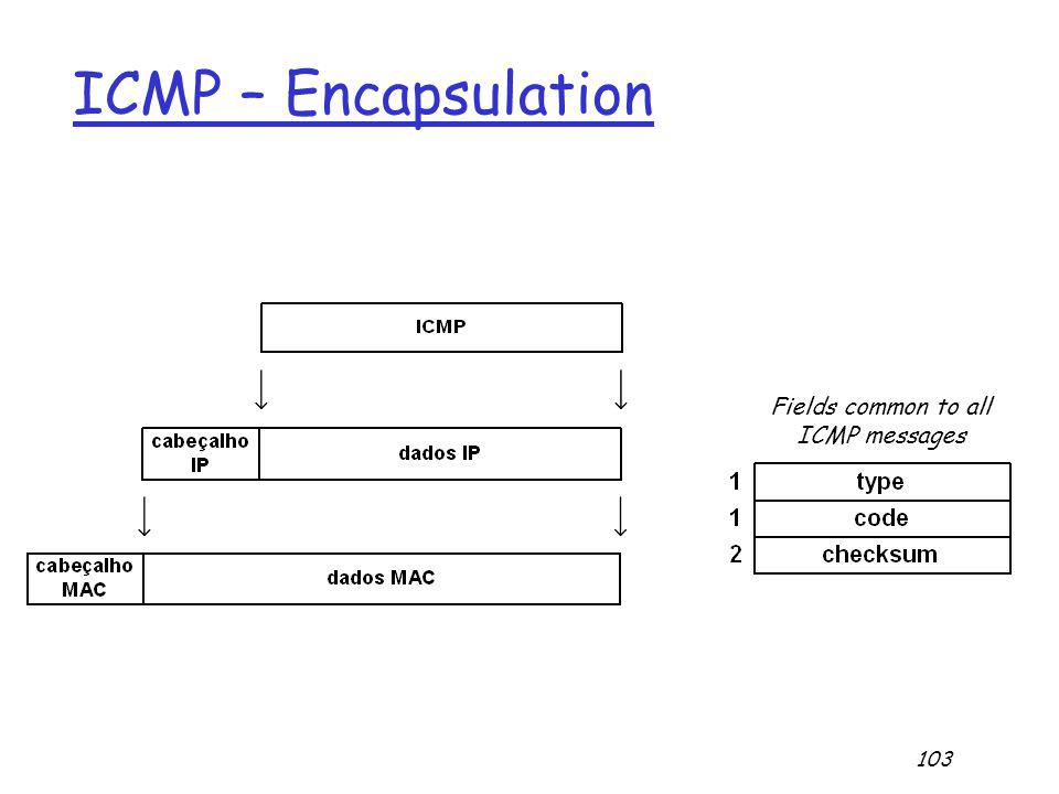 103 ICMP – Encapsulation Fields common to all ICMP messages