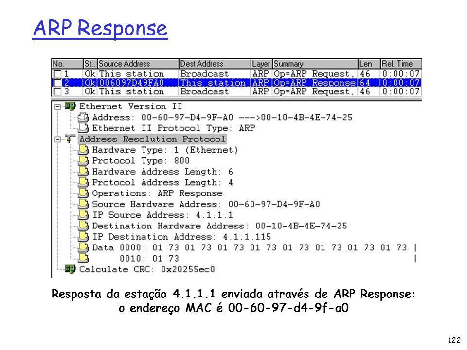 122 ARP Response Resposta da estação 4.1.1.1 enviada através de ARP Response: o endereço MAC é 00-60-97-d4-9f-a0