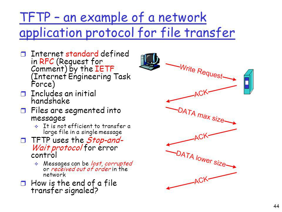TFTP – an example of a network application protocol for file transfer r Internet standard defined in RFC (Request for Comment) by the IETF (Internet Engineering Task Force) r Includes an initial handshake r Files are segmented into messages It is not efficient to transfer a large file in a single message r TFTP uses the Stop-and- Wait protocol for error control Messages can be lost, corrupted or received out of order in the network r How is the end of a file transfer signaled.