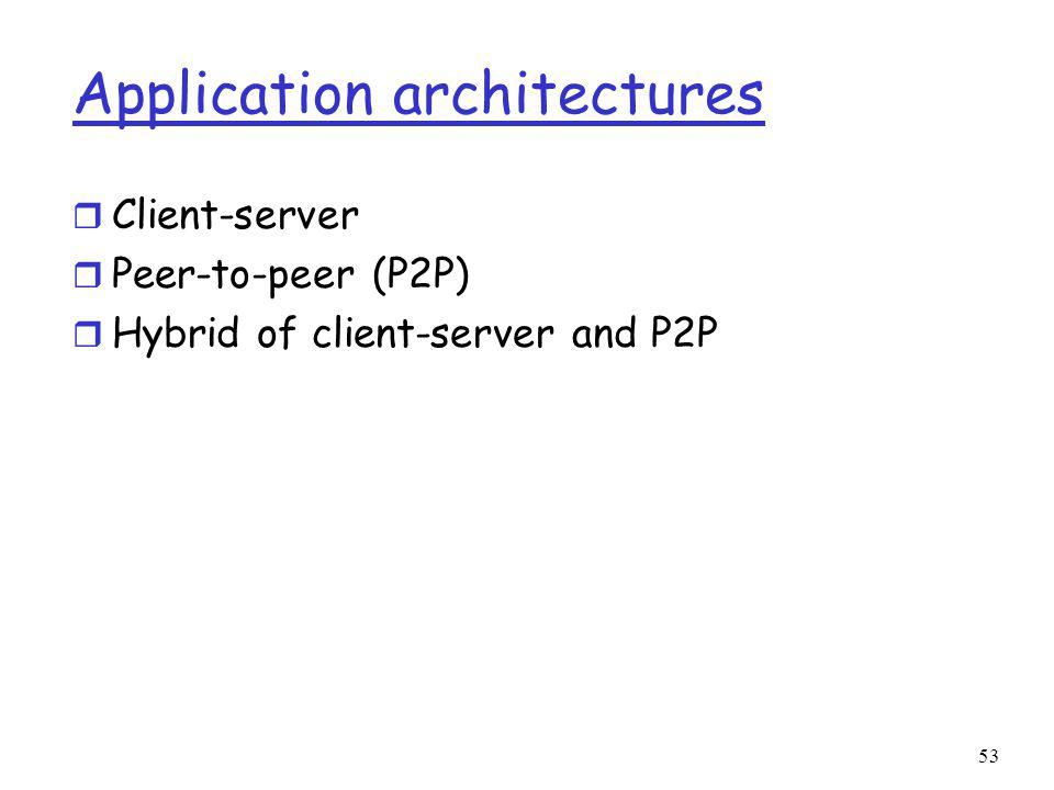 Application architectures r Client-server r Peer-to-peer (P2P) r Hybrid of client-server and P2P 53