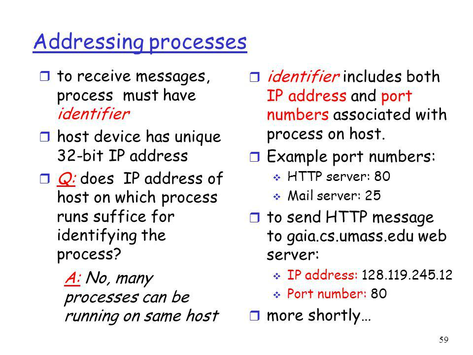 59 Addressing processes r to receive messages, process must have identifier r host device has unique 32-bit IP address r Q: does IP address of host on which process runs suffice for identifying the process.