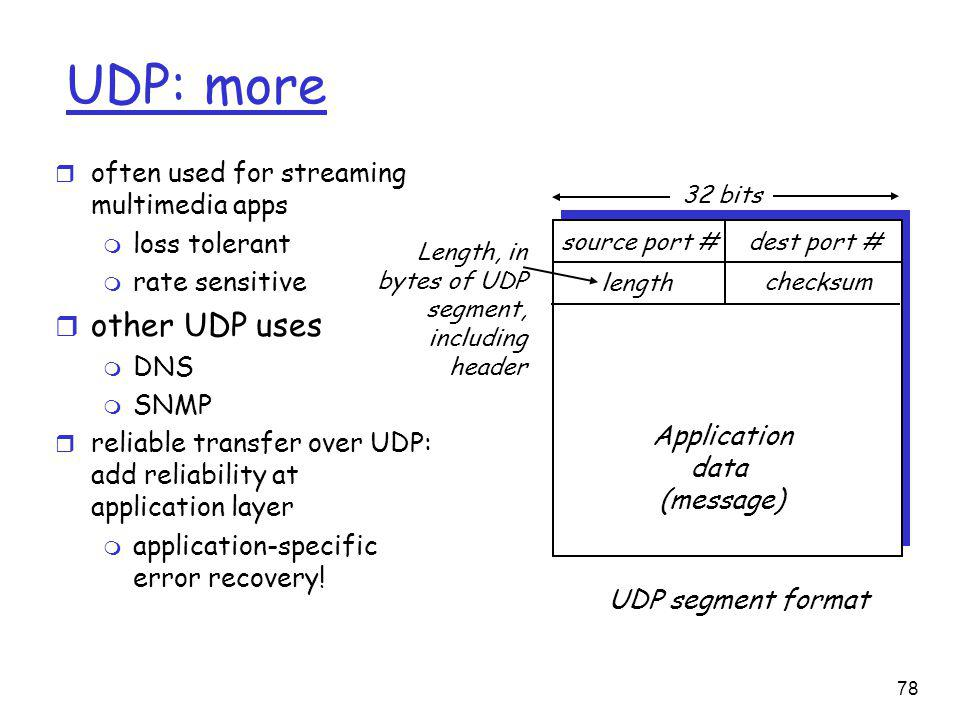 78 UDP: more r often used for streaming multimedia apps m loss tolerant m rate sensitive r other UDP uses m DNS m SNMP r reliable transfer over UDP: add reliability at application layer m application-specific error recovery.