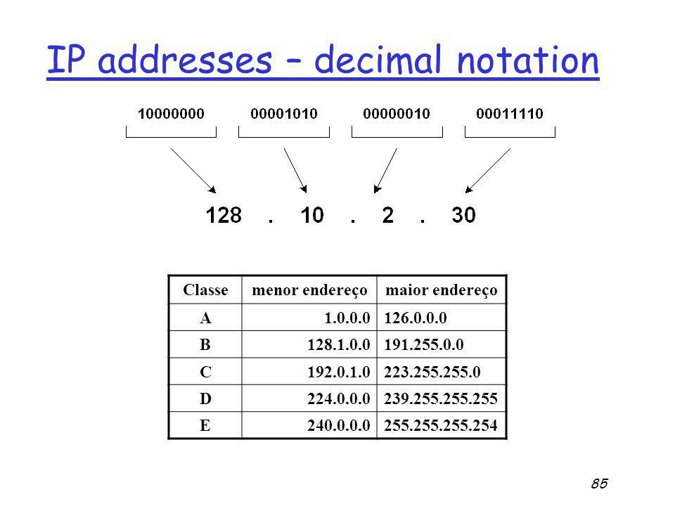 85 IP addresses – decimal notation Classemenor endereçomaior endereço A1.0.0.0126.0.0.0 B128.1.0.0191.255.0.0 C192.0.1.0223.255.255.0 D224.0.0.0239.255.255.255 E240.0.0.0255.255.255.254