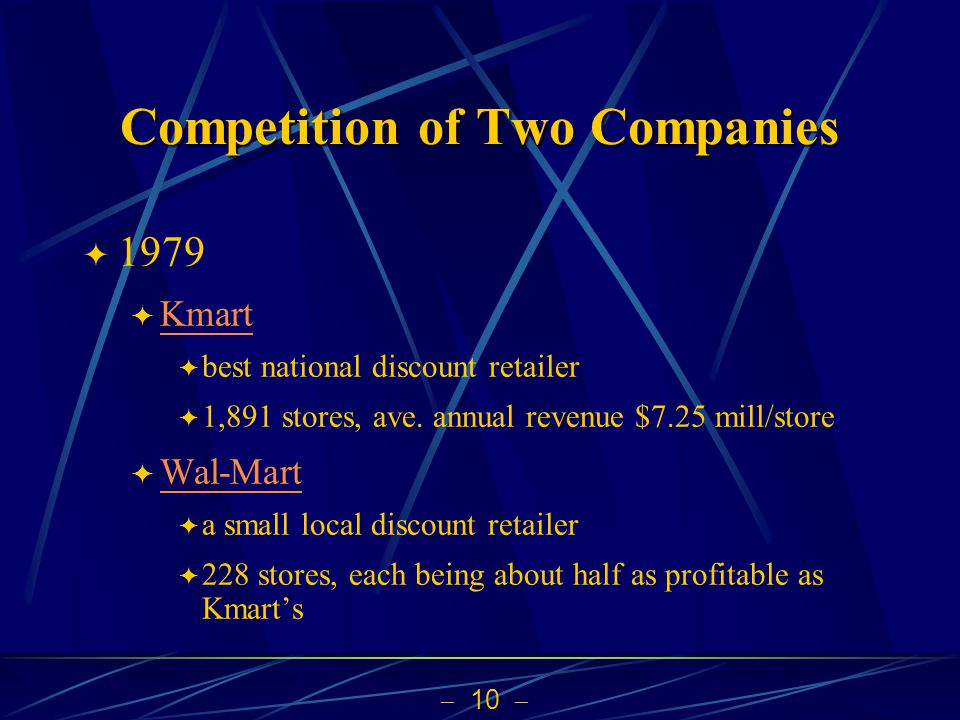 10 Competition of Two Companies 1979 Kmart best national discount retailer 1,891 stores, ave. annual revenue $7.25 mill/store Wal-Mart a small local d