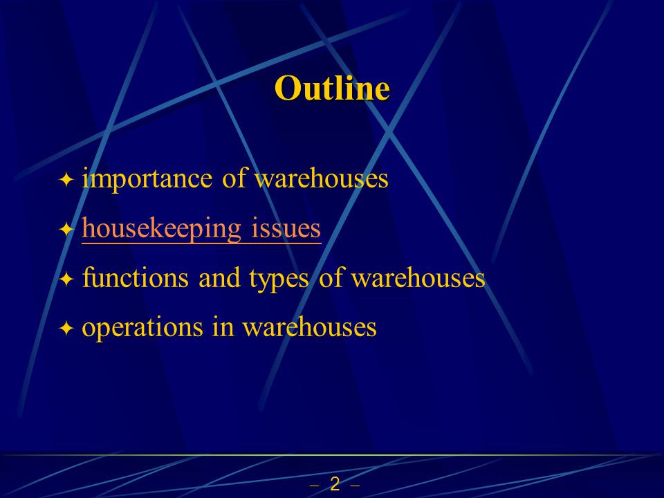 13 Course Objectives to enable students to have the basic knowledge to manage and to improve modern warehousees to understand roles of warehouses in a supply chain more from the business and management perspective issues to learn operations and processes in different types of warehouses equipment for warehouses material handling, communication, information processing and system control design, status assessment, benchmarking, and improvement of warehouses