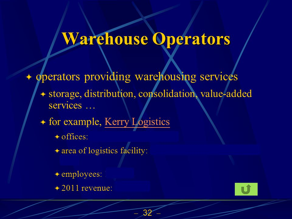 32 Warehouse Operators operators providing warehousing services storage, distribution, consolidation, value-added services … for example, Kerry Logist