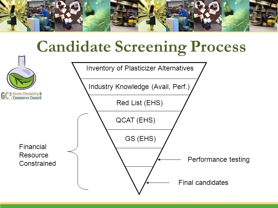 Candidate Screening Process Inventory of Plasticizer Alternatives Industry Knowledge (Avail, Perf.) Red List (EHS) QCAT (EHS) GS (EHS) Performance testing Final candidates Financial Resource Constrained