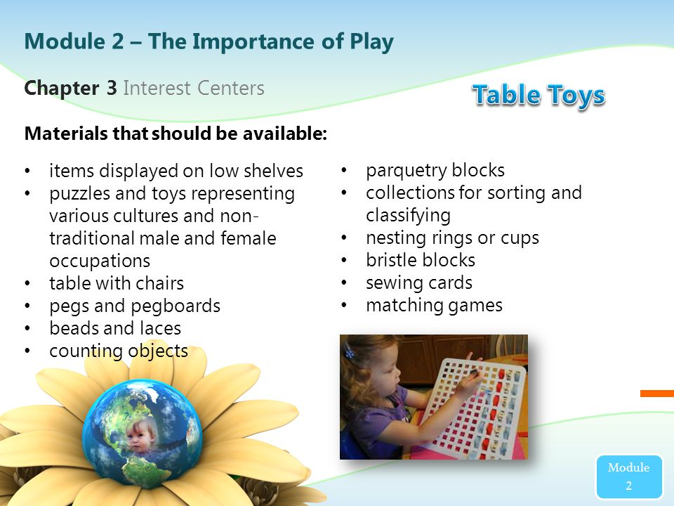 items displayed on low shelves puzzles and toys representing various cultures and non- traditional male and female occupations table with chairs pegs and pegboards beads and laces counting objects Materials that should be available: Chapter 3 Interest Centers Module 2 parquetry blocks collections for sorting and classifying nesting rings or cups bristle blocks sewing cards matching games Module 2 – The Importance of Play
