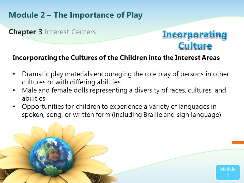 Chapter 3 Interest Centers Module 2 Incorporating the Cultures of the Children into the Interest Areas Dramatic play materials encouraging the role play of persons in other cultures or with differing abilities Male and female dolls representing a diversity of races, cultures, and abilities Opportunities for children to experience a variety of languages in spoken, song, or written form (including Braille and sign language) Module 2 – The Importance of Play