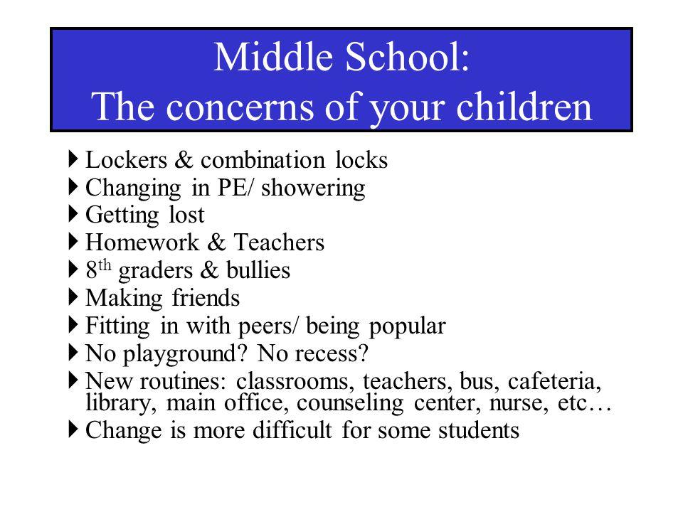 Lockers & combination locks Changing in PE/ showering Getting lost Homework & Teachers 8 th graders & bullies Making friends Fitting in with peers/ be
