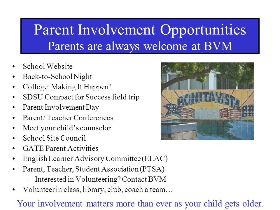 School Website Back-to-School Night College: Making It Happen! SDSU Compact for Success field trip Parent Involvement Day Parent/ Teacher Conferences