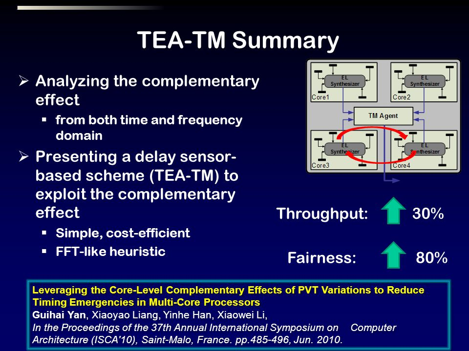 TEA-TM Summary Analyzing the complementary effect from both time and frequency domain Presenting a delay sensor- based scheme (TEA-TM) to exploit the complementary effect Simple, cost-efficient FFT-like heuristic Leveraging the Core-Level Complementary Effects of PVT Variations to Reduce Timing Emergencies in Multi-Core Processors Guihai Yan, Xiaoyao Liang, Yinhe Han, Xiaowei Li, In the Proceedings of the 37th Annual International Symposium on Computer Architecture (ISCA 10), Saint-Malo, France.