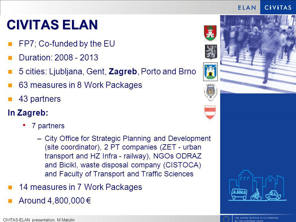 CIVITAS ELAN FP7; Co-funded by the EU Duration: 2008 - 2013 5 cities: Ljubljana, Gent, Zagreb, Porto and Brno 63 measures in 8 Work Packages 43 partners In Zagreb: 7 partners –City Office for Strategic Planning and Development (site coordinator), 2 PT companies (ZET - urban transport and HZ Infra - railway), NGOs ODRAZ and Bicikl, waste disposal company (CISTOCA) and Faculty of Transport and Traffic Sciences 14 measures in 7 Work Packages Around 4,800,000 CIVITAS-ELAN presentation, M.Matulin