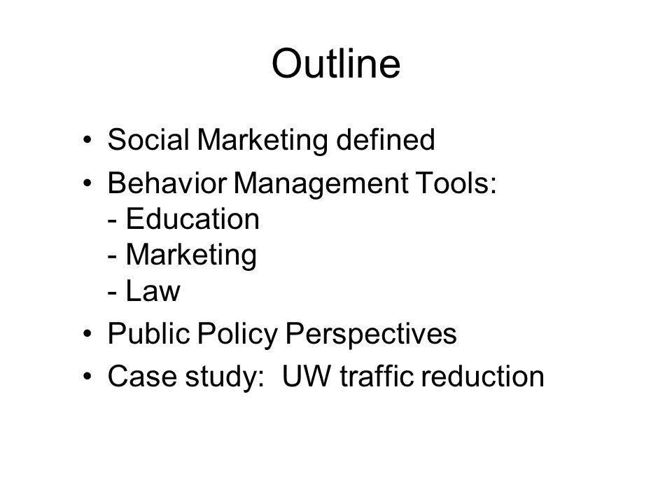 Social Marketing Social Marketing applies the principles of marketing to address social problems by influencing behavior change.