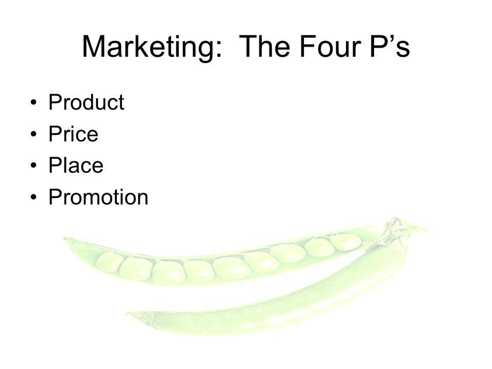Product Price Place Promotion Marketing: The Four Ps