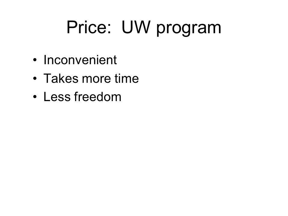 Price: UW program Inconvenient Takes more time Less freedom