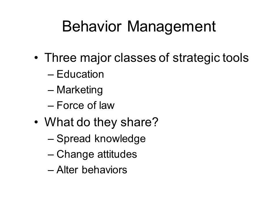 Behavior Management Three major classes of strategic tools –Education –Marketing –Force of law What do they share.