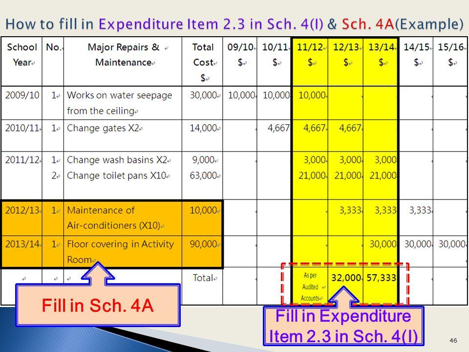 How to fill in Expenditure Item 2.3 in Sch. 4(I) & Sch. 4A(Example) Fill in Expenditure Item 2.3 in Sch. 4(I) Fill in Sch. 4A 46