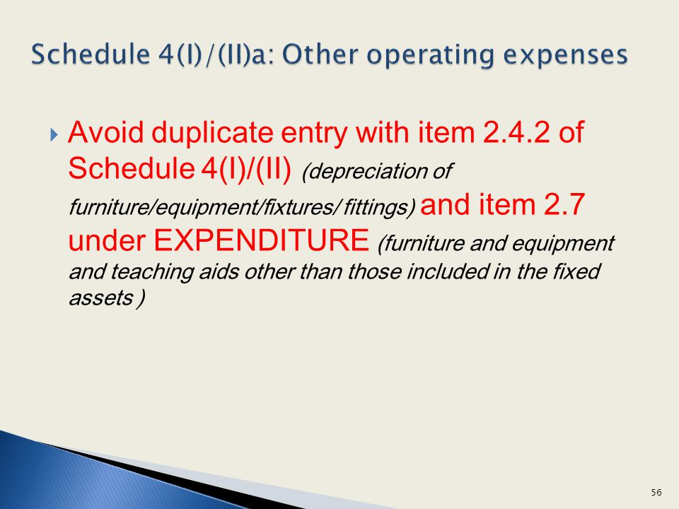 Avoid duplicate entry with item 2.4.2 of Schedule 4(I)/(II) (depreciation of furniture/equipment/fixtures/ fittings) and item 2.7 under EXPENDITURE (f