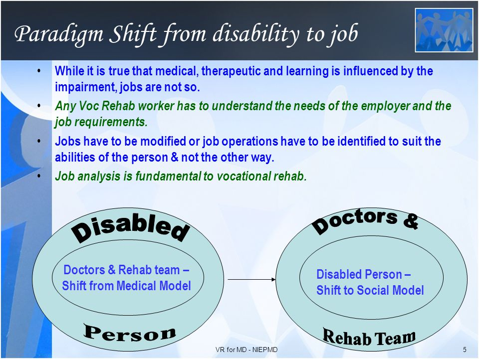 Concept of Vocational Rehabilitation The Concept of Vocational training & rehabilitation itself has come in just about 40 – 45 years ago in India.