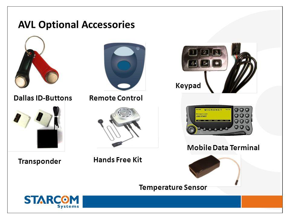 AVL Optional Accessories Dallas ID-Buttons Temperature Sensor Mobile Data Terminal Hands Free Kit Transponder Keypad Remote Control