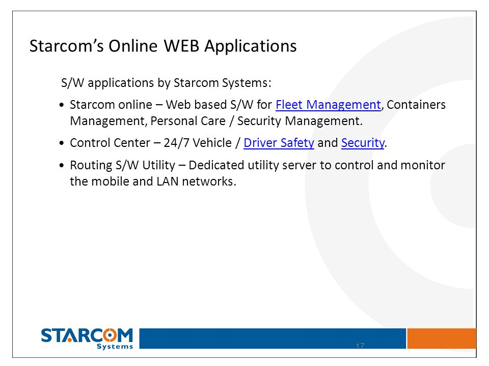 Starcoms Online WEB Applications S/W applications by Starcom Systems: Starcom online – Web based S/W for Fleet Management, Containers Management, Pers